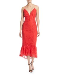 Lovers Friends Evening Bloom Lace Flounce Midi Dress Red