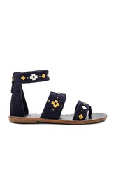 Soludos Embroidered Three Banded Sandal Navy