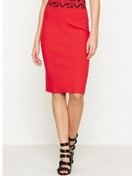 Versus By Versace Logo Pencil Skirt Red