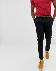 Pull And Bear Pullandbear Skinny Chino With Belt In Black