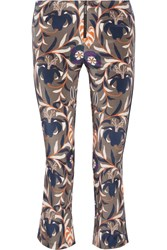 Haney Cropped Printed Stretch Silk Bootcut Pants Gray