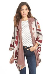 Junior Women's Billabong 'Enchanted Ways' Geometric Pattern Poncho Cardigan Black Cherry
