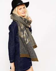 Asos Oversized Scarf In Camo Knit Green