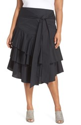 Vince Camuto Plus Size Tiered Ruffle Belted Skirt Rich Black