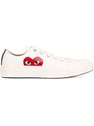 Comme Des Garcons Play Heart Logo Lace Up Sneakers Nude And Neutrals