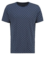 Knowledge Cotton Apparel Print Tshirt Dunkelblau Dark Blue