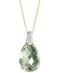Macy's 14K Gold Necklace Green Amethyst 4 3 4 Ct. T.W. And Diamond Accent Brio Drop Pendant