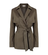 Reiss Nadia Relaxed Belted Mac Female Khaki