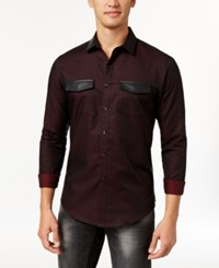 Inc International Concepts Men's Faux Leather Trim Shirt Only At Macy's Sweet Cinnamon
