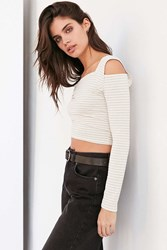 Silence And Noise Striped Cold Shoulder Crop Top Ivory