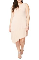 Rachel Roy Plus Size Women's Asymmetrical Flounce Dress Pink Opal Pink Opal Combo