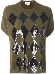 Giamba Sequin Embellished Sweater Green