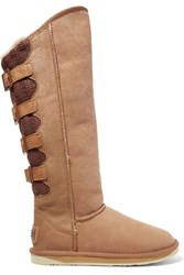 Australia Luxe Collective Spartan Shearling Lined Coated Suede And Knitted Boots Tan