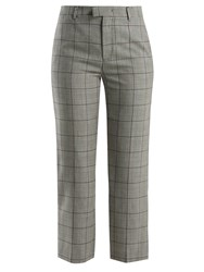 Red Valentino Checked Wool Trousers Grey