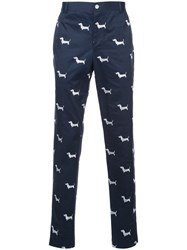 Thom Browne Dog Print Tapered Trousers Men Cotton 2 Blue