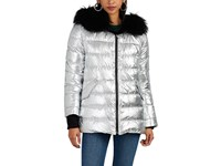 Army By Yves Salomon Reversible Fur And Metallic Tech Fabric Puffer Jacket Silver