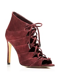 Dolce Vita Bloomingdale's Exclusive Hanoa Lace Up Open Toe High Heel Booties Mulberry