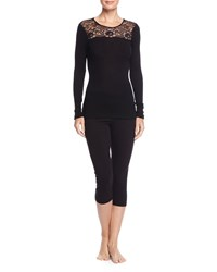 Hanro Contance Long Sleeve Top W Lace Black