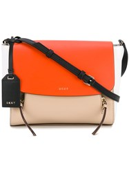 Dkny Colour Block Crossbody Bag Women Cotton Leather One Size Nude Neutrals