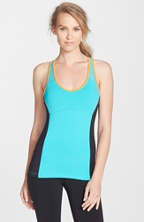 Alo Yoga 'Chromatic' Long Bra Tank Green