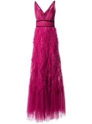 Marchesa Notte Ruffled Tulle Gown Pink And Purple