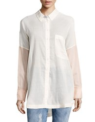 Free People Hi Lo Button Front Tunic Top Pink Combo