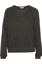 Lna Distressed Cotton Blend Sweatshirt Gray