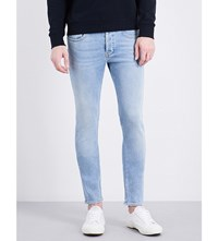 Sandro Slim Fit Mid Rise Tapered Jeans Light Blue