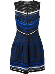 Roberto Cavalli Leopard Print Perforated Skater Dress Blue
