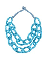Berry Jewelry Double Row Beaded Link Statement Necklace Turquoise