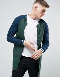 Brave Soul Long Line Baseball Zip Through Sweat Jacket Green