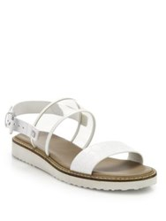 Cole Haan Capri Croc Embossed Leather And Clear Plastic Sandals