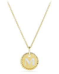 David Yurman Initial M Cable Collectible Necklace With Diamonds