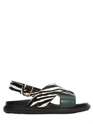 Marni 20Mm Zebra Printed Ponyskin Sandals