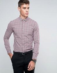 Asos Skinny Gingham Check Shirt Burgundy Red