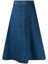 Miu Miu Denim Midi Skirt Blue