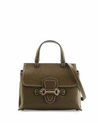 Valentino By Mario Valentino Diane Pebbled Leather Satchel Bag Army Green
