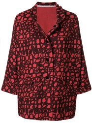 Daniela Gregis Printed Oversized Jacket Red