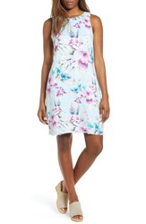 Tommy Bahama Print Frayed Trim Shift Dress Spring Rain