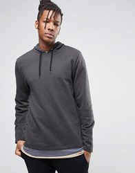 Asos Super Longline Hoodie With Double Layer T Shirt Hem Washed Black