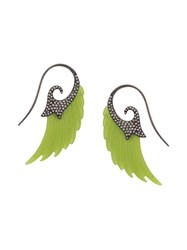 Noor Fares 18Kt White Gold Wing Jade And Diamond Earrings Green