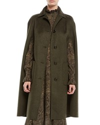 Michael Kors Single Breasted Button Front Long Wool Cape Coat Olive