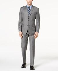 Marc New York By Andrew Men's Classic Fit Stretch Gray Glen Plaid Suit
