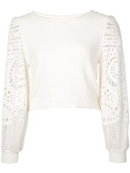 A.L.C. Crochet Sleeve Sweater White