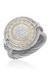 Alor 18K Gold Plated Stainless Steel Grey Diamond Ring Size 6.5 0.34 Ctw Gray