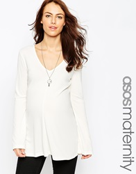 Asos Maternity Clean Tunic With V Neck And Long Sleeves Cream