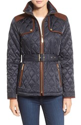 Vince Camuto Women's Diamond Quilted Jacket With Faux Suede Trim Navy