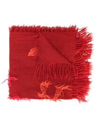 Y's Fray Detail Scarf Red
