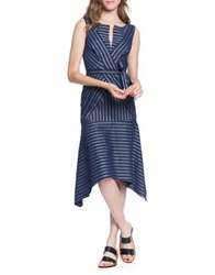 Tracy Reese Directional Stripe A Line Dress India Ink