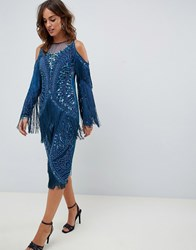 A Star Is Born Fringed Midi Dress With Embellishment In Teal Blue